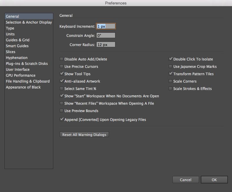 General settings pop-up window