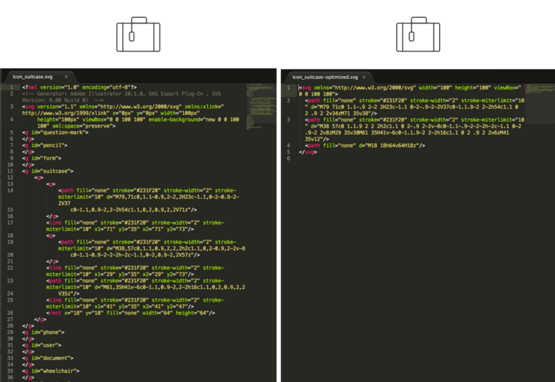 Icon code before(left) and after(right) optimization.