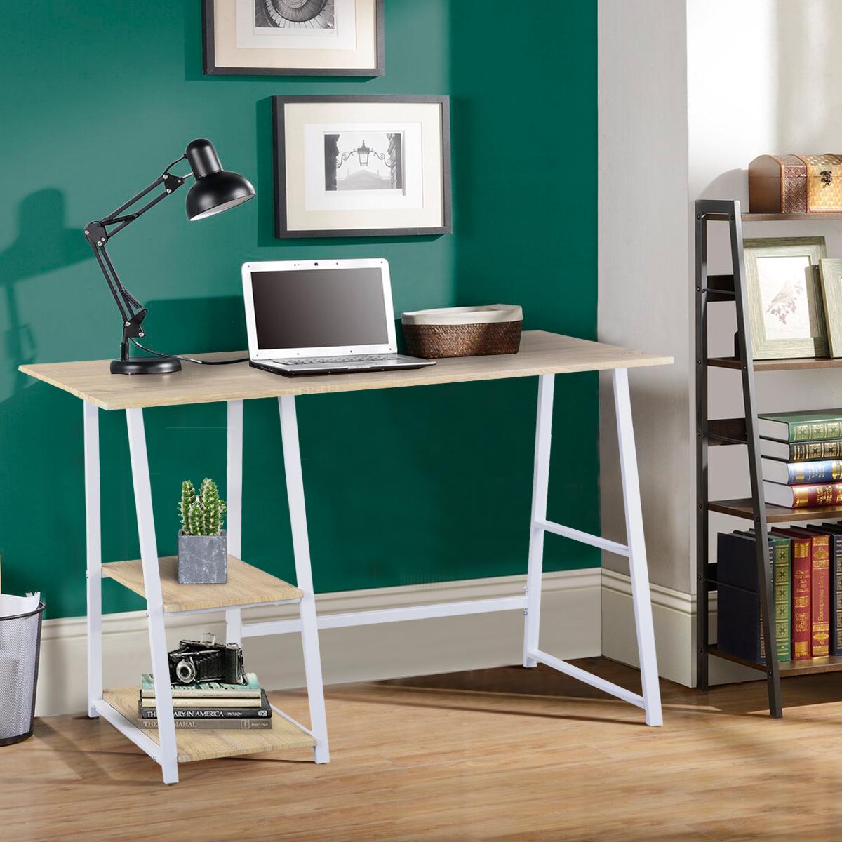 Bureau d/'ordinateur avec 2 étagères Table de bureau en bois et acier TSG25gr