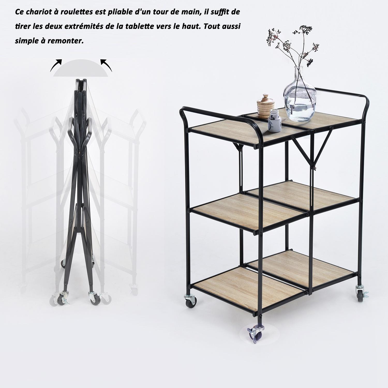 Mettre Des Roulettes Sous Une Table urban meuble desserte pliable à roulettes 3 étagère bois