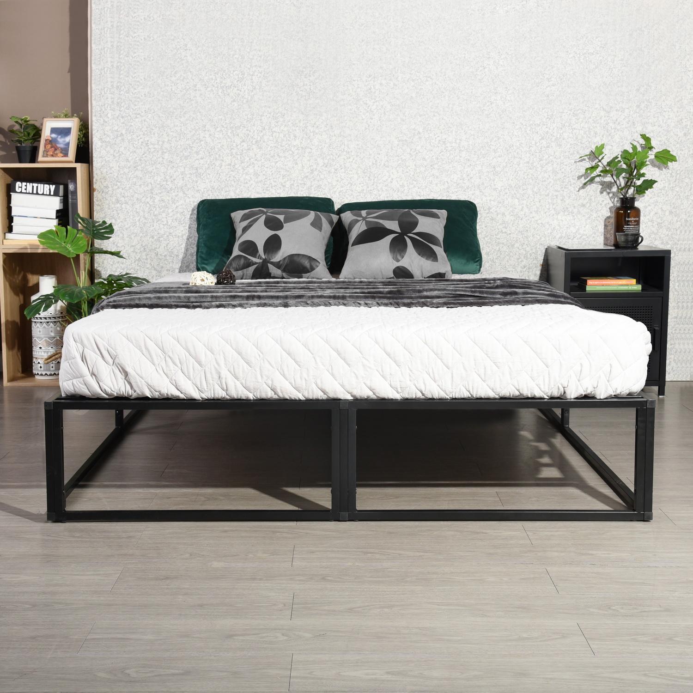 homy casa lit futon double cadre de lit noir avec sommier
