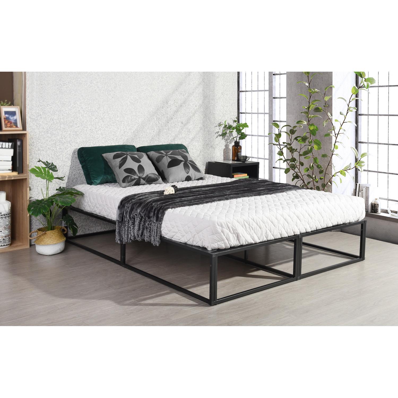 homy casa lit futon double cadre de lit noir de grande
